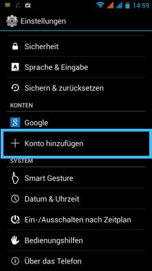 Android: Konto hinzufügen