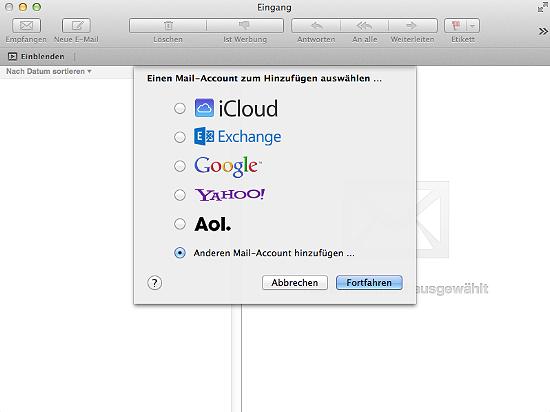 POP3 E-Mail Konto auf dem Mac anlegen