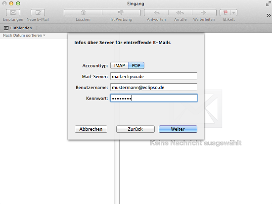 Apple Mail - Server für eintreffende E-Mails