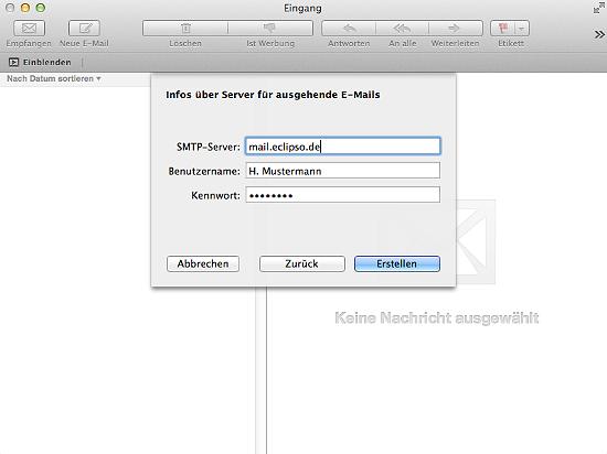 Apple Mail - Server für ausgehende E-Mails