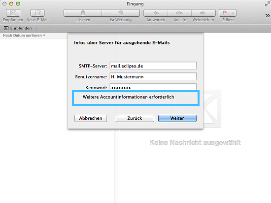 Apple Mail - Account muss manuell konfiguriert werden