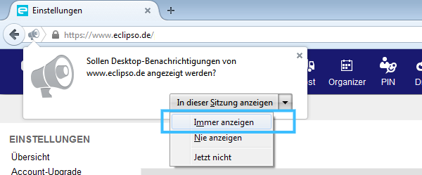 Mozilla Firefox Desktop-Benachrichtigung aktivieren