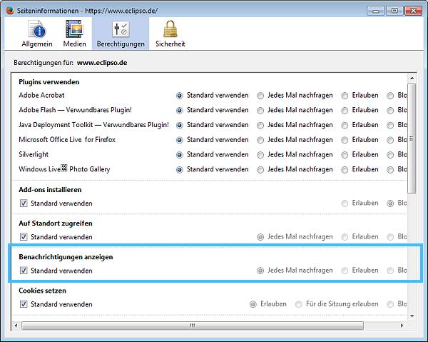 Mozilla Firefox Desktop-Benachrichtigung deaktivieren