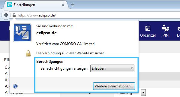 Mozilla Firefox Desktop-Benachrichtigung Einstellungen