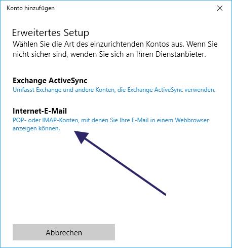 Windows 10 Mail App POP3 und IMAP einrichten
