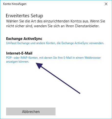 Configure Windows 10 Mail App POP3 and IMAP