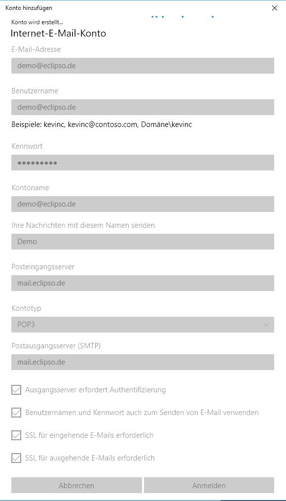 Windows 10 Mail App - Einrichtung abschließen